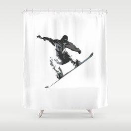 Snowboard Jumping Cartoon Shower Curtain