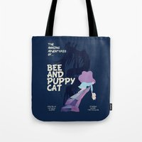 puppycat Tote Bags featuring bee and puppycat retro movie poster by Eva Puyal