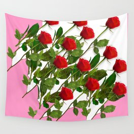 RED LONG STEMMED ROSES & PINK COLOR Wall Tapestry