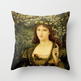 """Marie Spartali Stillman """"Madonna Pietra degli Scrovigni"""" Throw Pillow"""
