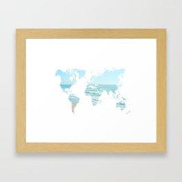 World Map Beach 12-24 Framed Art Print