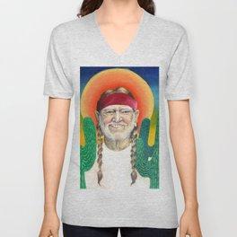 Willie Nelson Sunset Cactus Painting Unisex V-Neck