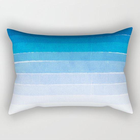 Blue Ombre Brushstroke - Summer, Beach, Ocean, Water, LA Cute trendy, painterly art Rectangular Pillow