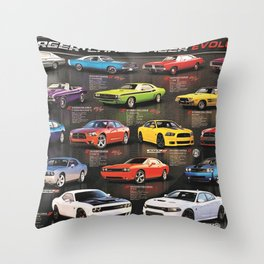 Charger - Challenger History Automotive Evolution Poster Throw Pillow