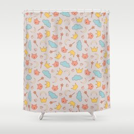 cute pattern with sleepy cats Shower Curtain