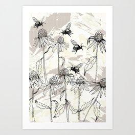 Buzzing bees - neutral Art Print