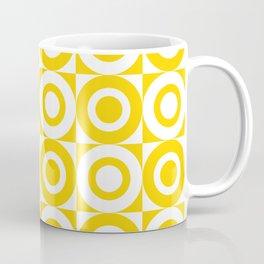 Mid Century Square and Circle Pattern 541 Yellow Coffee Mug