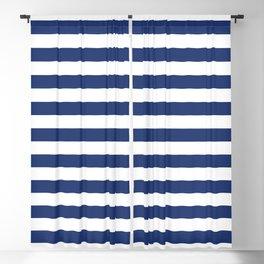 Horizontal Navy Stripes Pattern Blackout Curtain