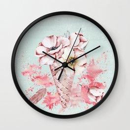 Pink & Teal Summer Fun Flower Ice Cream Waffle -Illustration Wall Clock