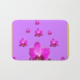 PURPLE ORCHID FLOWERS RAIN YELLOW ART Bath Mat