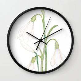 angelic snowdrop flowers watercolor Wall Clock