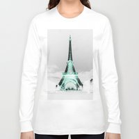 paris Long Sleeve T-shirts featuring pariS Black & White + Mint by 2sweet4words Designs