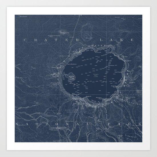 Crater Lake Blueprint Map Design Art Print
