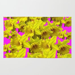 YELLOW SPRING DAFFODILS ON  VIOLET PURPLE ART Rug