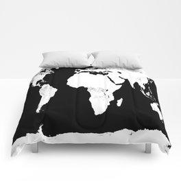 World Map Black & White Comforters