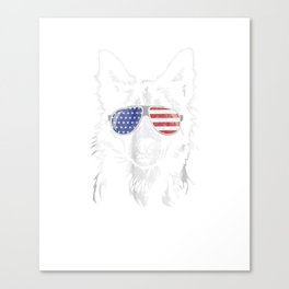 Funny Proud Border Collie Patriotic T- Shirt dog tee gift Canvas Print