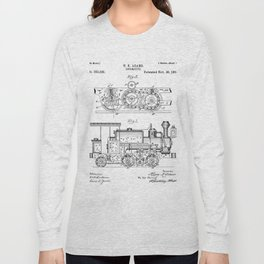 Steam Train Patent - Steam Locomotive Art - Black And White Long Sleeve T-shirt