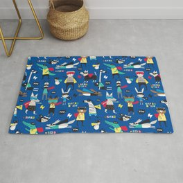 Fun Animal Superhero Kids Pattern Blue Rug