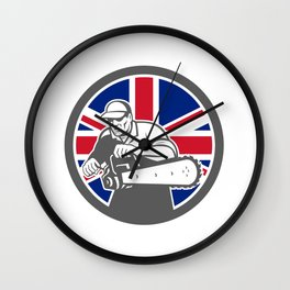 British Arborist Union Jack Flag Icon Wall Clock