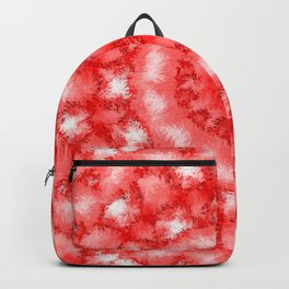 Kaleidoscope Fuzzy Red and White Circular Pattern Backpack