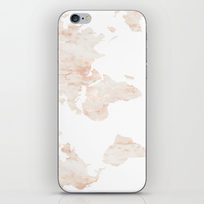 Marble World Map Light Pink Rose Gold Shimmer IPhone Skin