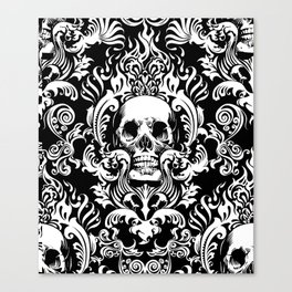 Skull Damask Canvas Print