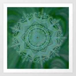 Green Swirl Mandala II Art Print