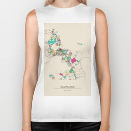 Colorful City Maps: Auckland, New Zealand Biker Tank