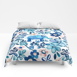 Blush Pink, White and Blue Elephant and Floral Watercolor Pattern Comforters