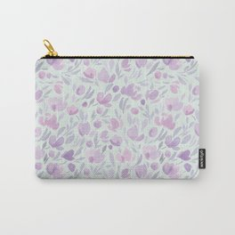 Purple Flower Pattern Carry-All Pouch