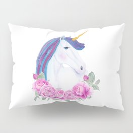 White unicorn with pink roses Pillow Sham