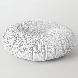 Silver Mandala Pattern Illustration Floor Pillow