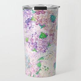 Pastel Purple and blue Lilac & Hydrangea - Flower Design Travel Mug