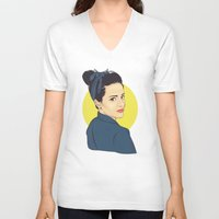 lipstick V-neck T-shirts featuring Lipstick by FalcaoLucas