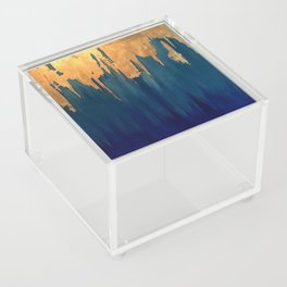 Gold Leaf & Blue Abstract Acrylic Box