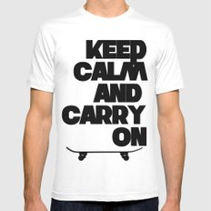 Keep Calm and Carry On Mens Fitted Tee White MEDIUM