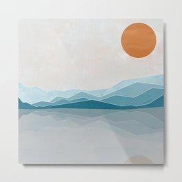 Blue Hills Orange Sun Reflection Metal Print