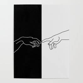 Hands of God and Adam- The creation of Adam Poster