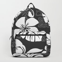Grey & White Hibiscus Aloha Hawaiian Flower Blooms and Tropical Banana Leaves Pattern Backpack