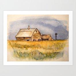 Barns and Windmill Art Print