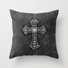 Gunmetal Pewter Cross Throw Pillow