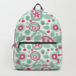 Abstract Flower Pattern Hot Pink Mint Green Floral Circles Backpack