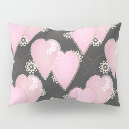 Retro Applique. Textile pink hearts on grey background . Patchwork Valentines Day Pillow Sham