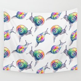 Rainbow Crystal Clear Snails Wall Tapestry