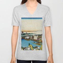 Mt,FUJI36view-Edo Nihonbashi - Katsushika Hokusai Unisex V-Neck