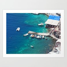 Boats of Santorini Art Print