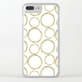 White & Gold Circles Clear iPhone Case