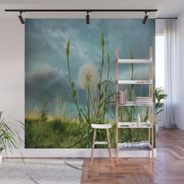 Touchdown - Dandelion Raises Arms in Air During Storm Wall Mural