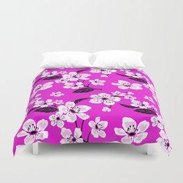 Light Purple & White Sakura Cherry Tree Flower Blooms on Dark Fuchsia Purple Hawaiian Floral Pattern Duvet Cover