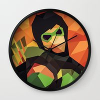 dc comics Wall Clocks featuring DC Comics Green Arrow by Eric Dufresne